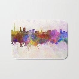 Baku skyline in watercolor background Bath Mat