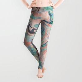 Pastel Rose Gold Mermaid Marble Leggings
