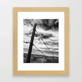 Barbed Wire, Badlands Framed Art Print