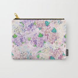 Pastel Purple and blue Lilac & Hydrangea - Flower Design Carry-All Pouch