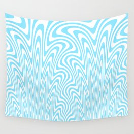 Cyan Squiggles Wall Tapestry