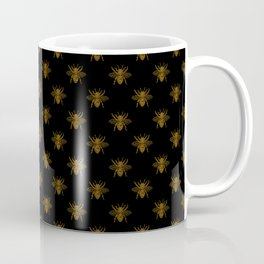 Foil Bees on Black Gold Metallic Faux Foil Photo-Effect Bees Coffee Mug