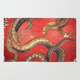 Dragon by Hokusai Rug