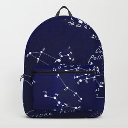 French March Star Map in Deep Navy & Black, Astronomy, Constellation, Celestial Backpack