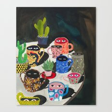Suspicious mugs Canvas Print