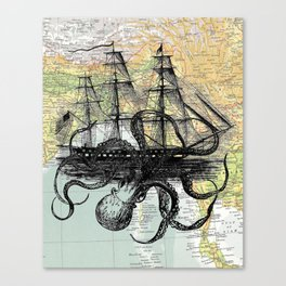 Octopus Attacks Ship on map background Canvas Print