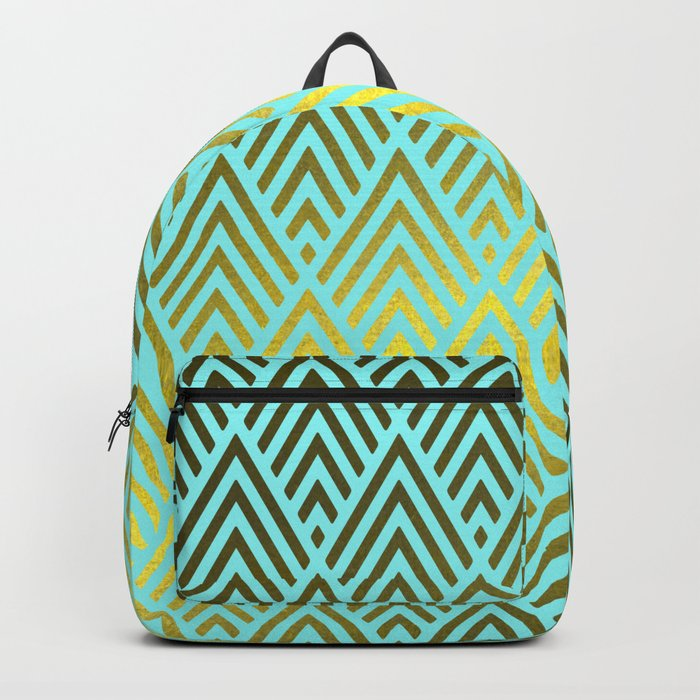 Gold foil triangles on Teal Backpack