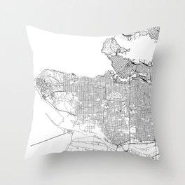 Vancouver White Map Throw Pillow