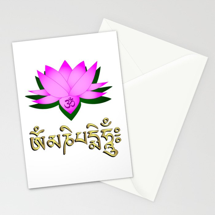 Lotus flower om symbol and mantra om mani padme hum stationery lotus flower om symbol and mantra om mani padme hum stationery cards mightylinksfo