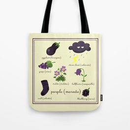 Colors: purple (Los colores: morado) Tote Bag
