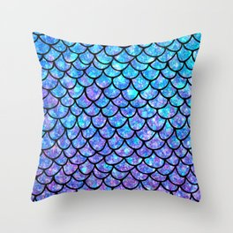 Purples & Blues Mermaid scales Throw Pillow