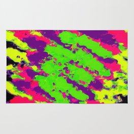 psychedelic splash painting abstract texture in yellow green pink purple black Rug