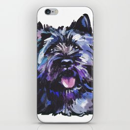 Fun Black Cairn Terrier bright colorful Pop Art Dog Portrait by LEA iPhone Skin