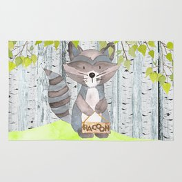 The adorable Racoon - Woodland Friends - Watercolor Illustration Rug