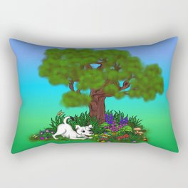 Spring-awakening - Puppy Capo and Butterfly Rectangular Pillow