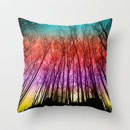 Colorful forest silhoutte Throw Pillow
