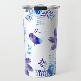 Watercolor flower and birds  Travel Mug