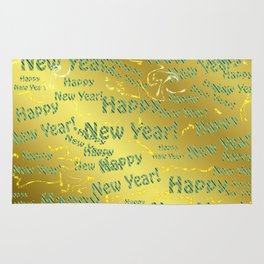 blue Colorful design happy new year text in gold, festive, elegant gift for anyone in the family Rug