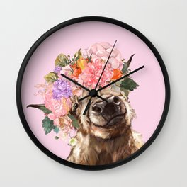 Highland Cow with Flowers Crown in Pink Wall Clock