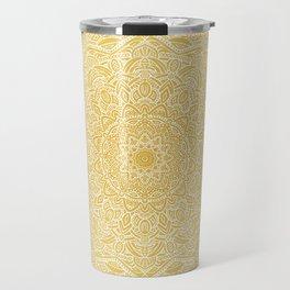 Most Detailed Mandala! Yellow Golden Color Intricate Detail Ethnic Mandalas Zentangle Maze Pattern Travel Mug