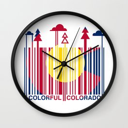 Colorful Colorado Barcode Flag Wall Clock