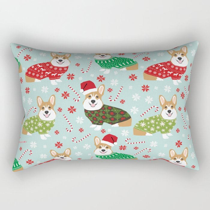 Corgi sweater christmas ugly sweaters dog breed welsh corgis holiday Rectangular Pillow