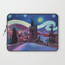 Starry Night in Prague - Van Gogh Inspirations on Charles Bridge Laptop Sleeve