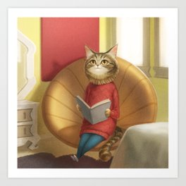 A cat reading a book Art Print