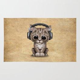 Cute Kitten Dj Wearing Headphones Rug