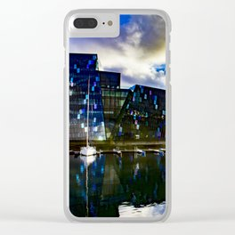 Arctic Circle Sunset Behind a Ship on the Sea behind the Harpa Concert Hall in Reykjavik, Iceland Clear iPhone Case