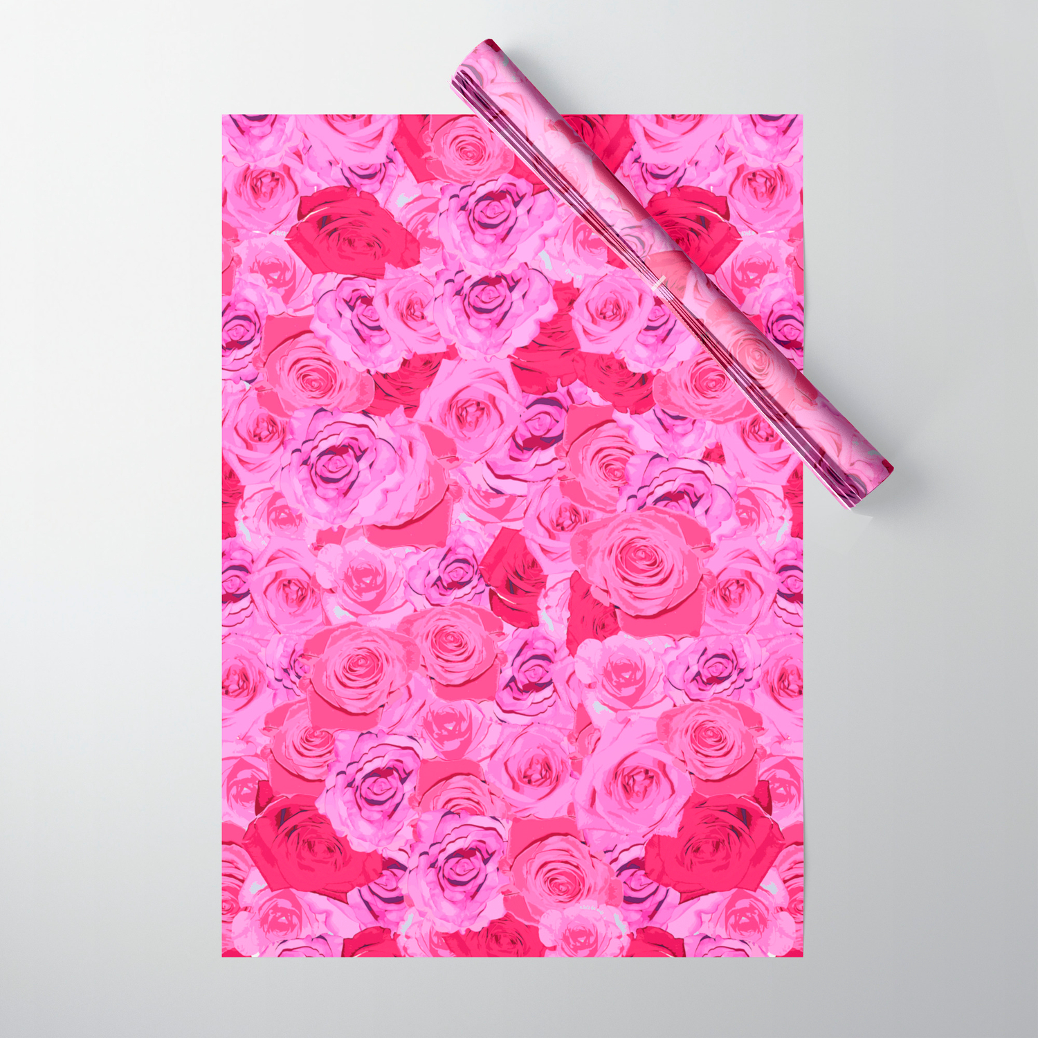 Floral Pink And Red Roses Tumblr Aesthetic Wrapping Paper By