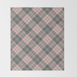 Pink and Gray Plaid Pattern Throw Blanket