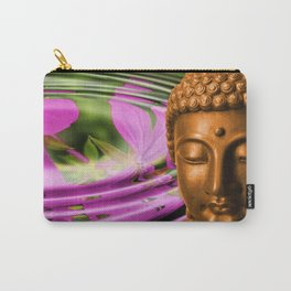 Buddha Head & Flowers in Rippling Water Carry-All Pouch