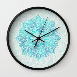 Turquoise Lace Mandala Wall Clock