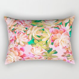 Cactus Fall - Pink and Green Rectangular Pillow
