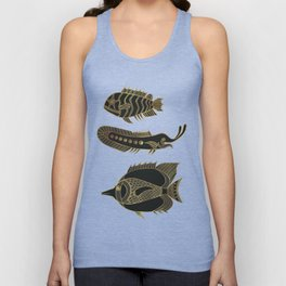 Fantastical Fish 1 - Black and Gold Unisex Tank Top