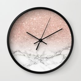 modern faux rose gold pink glitter ombre white marble wall clock - Modern Clocks