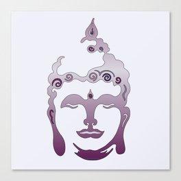 Buddha Head violet - grey Canvas Print