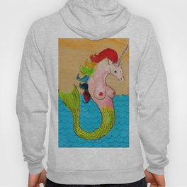 A Rainbow-Haired Mermicorn Hoody