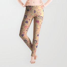 Vintage Mushroom Pattern Leggings