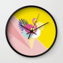 Pink Flamingo Summer Ice cream scoops #summervibes Wall Clock