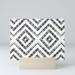 Grey Checkered Paattern Mini Art Print