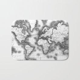 Black and White World Map (1911) Bath Mat