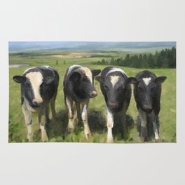 Curious Kiwi Cows Rug