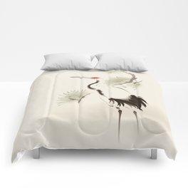 Oriental Red-Crowned Crane 002 Comforters