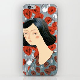Girl on poppies iPhone Skin