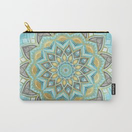 Cyan & Golden Yellow Sunny Skies Medallion Carry-All Pouch