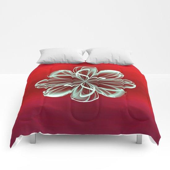 Cyan Bloom on Red Comforters