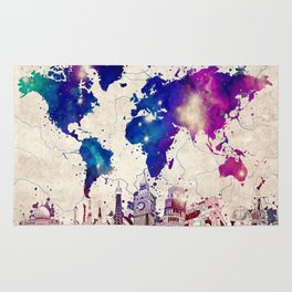 world map city skyline galaxy 2 Rug