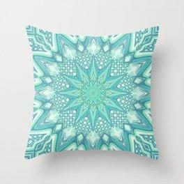 Burst Mandala Turquoise Throw Pillow